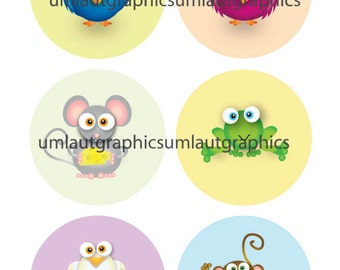 Collage Sheet 2.5 Inch x 2.5 Inch Cute Animals for Pocket Mirrors