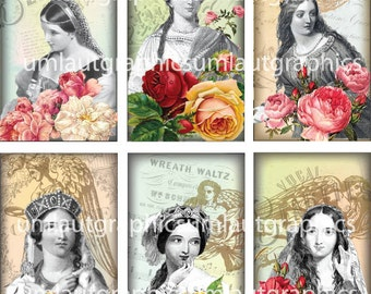 2 Inch x 3.5 Inch Shakespeare's Ladies Digital Collage Sheet