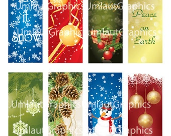Digital Collage Sheet 1.5 Inch x 4 Inch Christmas Hang Tags Printable Downloadable