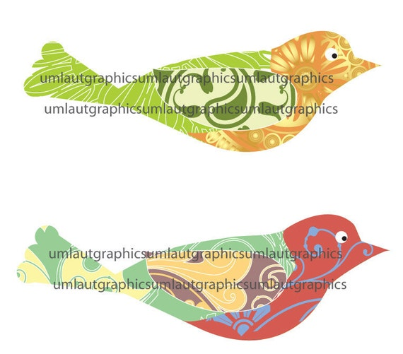 Collage Sheet Two 2.5 x 7 Swirl Bird Graphics for Tshirts Pillows Totes