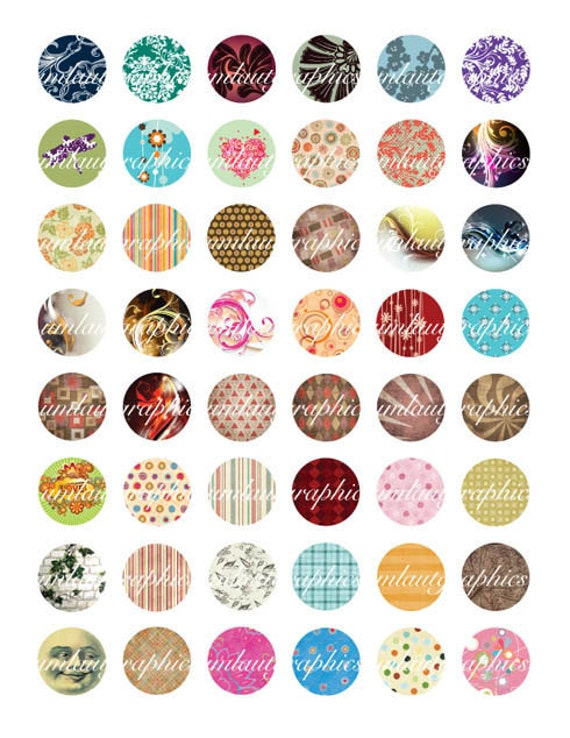 Digital Collage Sheet 1 x 1 Inch Swirls Shapes Dots Flowers For Scrapbooking Bottle Caps Glass Tiles