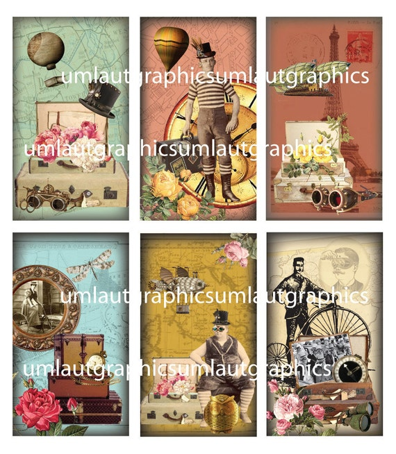 2 Inch x 3.5 Inch Victorian Vintage Suitcase Travel Digital Collage Sheet