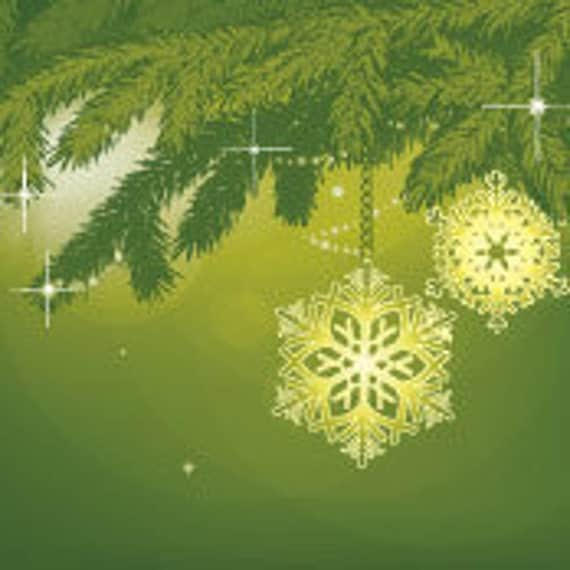 Christmas Premade Etsy Shop Banner and Avatar Green Branches and Snowflakes Bells