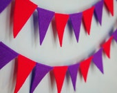 Festive Pink and Purple Felt Flag Banner Garland Bunting- Perfect Birthday and Party Decoration