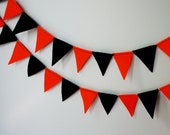 Orange and Black Felt Flag Banner Garland Bunting- Perfect for Sport Teams - BrooklynOwl