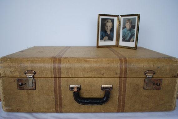 Suitcase ,tan ,striped ,luggage