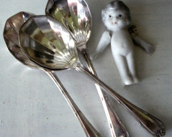 silver plate spoons - 4