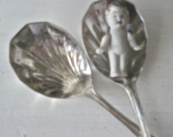 silver plate spoons - 2