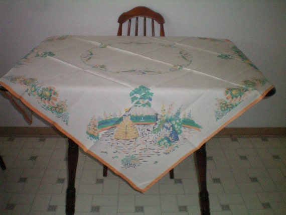 Vintage Tablecloth with Southern Belle-Hand Hemmed 50 x 50