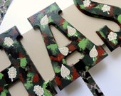 Camouflage Name Sign (3 Letters) - Forest  Theme Custom Hand Painted Wood Wall Letters for Nursery or Child's Bedroom