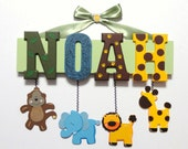 Zoo Animal Name Sign (4 Letters) - Custom Hand Painted Wood Letters on a Personalized Wall Hanging for Nursery or Child's Bedroom