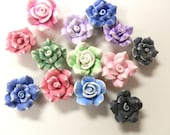 25 Fimo Polymer Clay Flower Rose Fimo Beads 25-28mm Variety Set Purple Red Blue Pink Assorted Colors