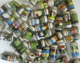 25 Handpainted Ceramic Llama Tube Beads