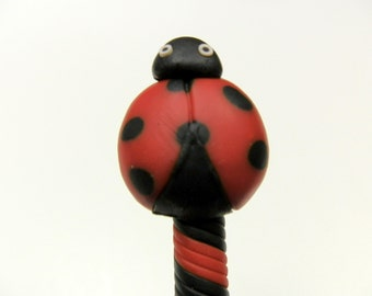 New Handmade Polymer Clay Pen Cartoon Ladybug Black Red