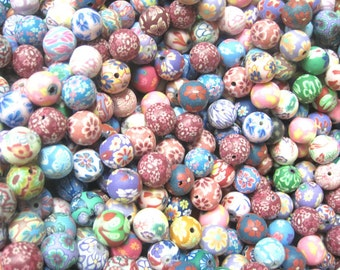 500 Fimo Polymer Clay Round Beads Variety Set 12mm Assorted Colorts and Prints Flowers, Pink, Red, Blue etc