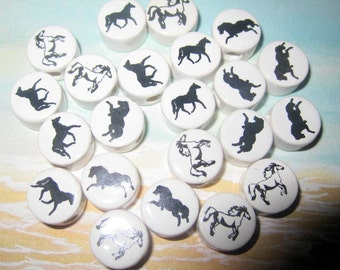 New 50 Ceramic Black WHite Horse Beads