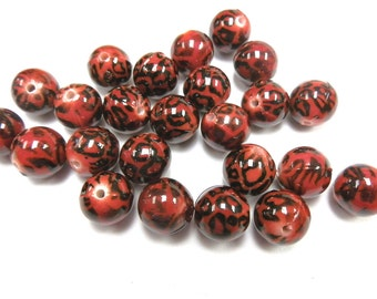 10 Red Leopard Acrylic Round Beads 11mm