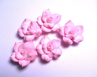 10 Fimo Polymer Clay Pink White Flower Fimo Beads 25mm Style 2
