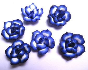 10 Fimo Polymer Clay dark blue  Flower Fimo Beads 25mm Style 3