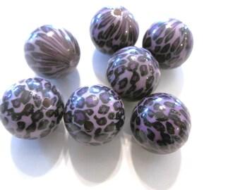 10 Purple Leopard Acrylic Round Beads 20mm