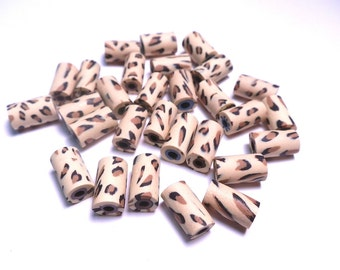 20 Fimo Polymer Clay Tube Beads Animal Print Leopard