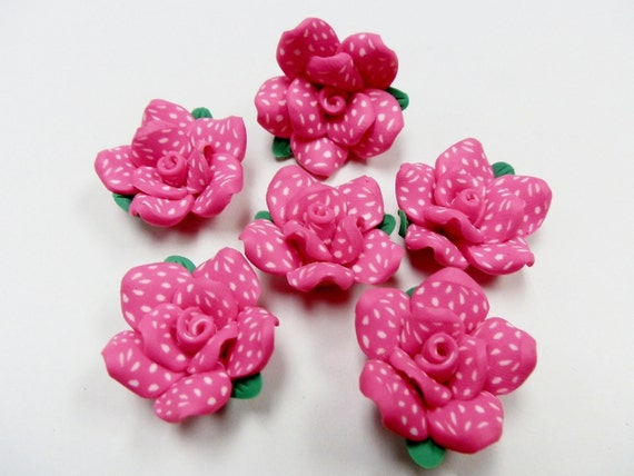6 Fimo Polymer Clay Fuschia White Flower Fimo Beads 25mm