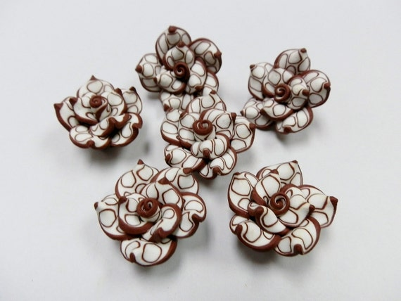 6 Fimo Polymer Clay Brown White Flower Rose Fimo Beads 25mm