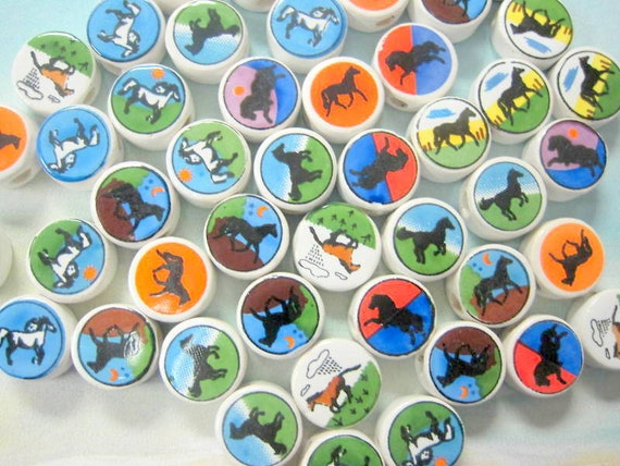 New 50 Ceramic Color Horse Beads Variety