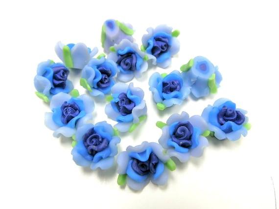 20 Fimo Polymer Blue Skyblue Flower Fimo Beads 17mm
