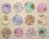 Shabby Roses patterned paper small die cut paper doilies. Set of 12.