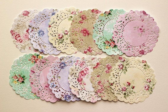 Shabby Roses patterned paper die cut paper doilies. Set of 12.