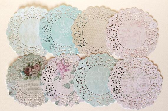 C'Est La Vie patterned paper die cut doilies.