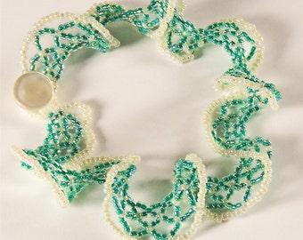 "Handcrafted Green and Ivory Bracelet -- Ruffled Oglala ""Butterfly"" stitch -very Feminine - Beadwork"