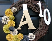 The Veda Paper Fan Monogram Address Grapevine Wreath