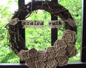 The Azalea Sweet Baby Gender Neutral Burlap Nursery Wreath