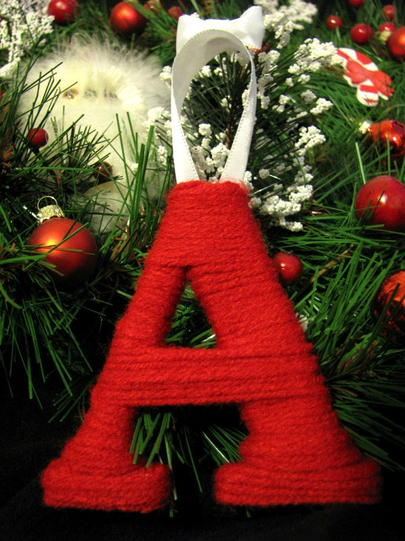 Items Similar To Letter Initial Yarn Ornament Christmas
