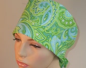 Tie Back Scrub Hat Turqouise and Lime Paisley