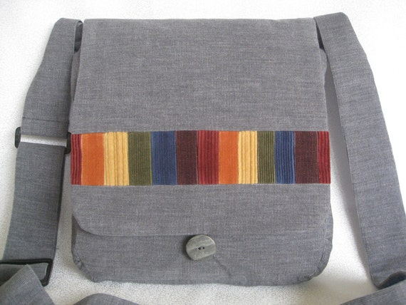 Grey muted rainbow corduroy messenger bag