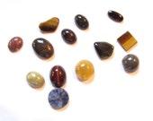 cabochon stone assortment, bloodstone, jasper, tiger eye, onyx