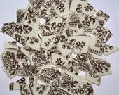 SALE  Large Cream and Brown Toile Mosaic Tile  Set with 2 Focals Broken China Mosaic Tiles