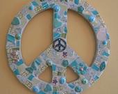 Broken China Mosaic 12 Inch Peace Sign Cats