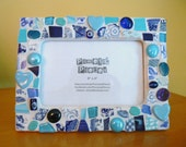 Blues Mosaic Photo Frame Picture Frame Broken China Made to Order