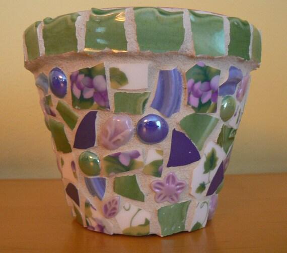 Sweet Violets Pique Assiette Mosaic Flower Pot  Broken China Mosaic