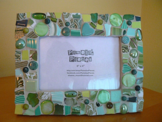 Greens Mosaic Picture Frame Broken China Mosaics