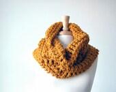 Chunky hooded cowl, neckwarmer, infinity scarf - The Harvard Neckwarmer in o.j. - orange, rust