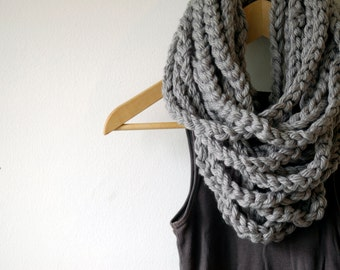 Gray crochet scarf, Chain scarf, kraeo scarf, grey cowl, Scarf, Neck Warmer, Cowl, Infinity scarf, Circular Scarf (The Chain Warmer in Gray)