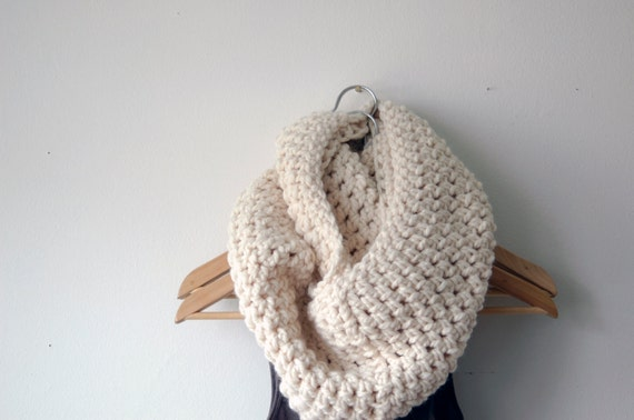 winter scarf, white scarf, crochet scarf, knit scarf, Infinity Scarf, Circular Scarf (The Abington Warmer in snow white)