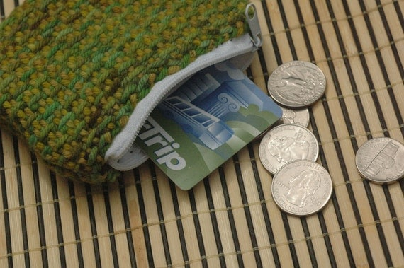 Coin Purse: Green Merino Handwoven, Handyed.