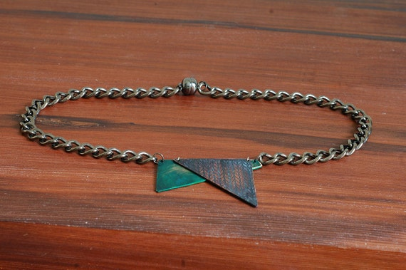 Patina necklace with chain