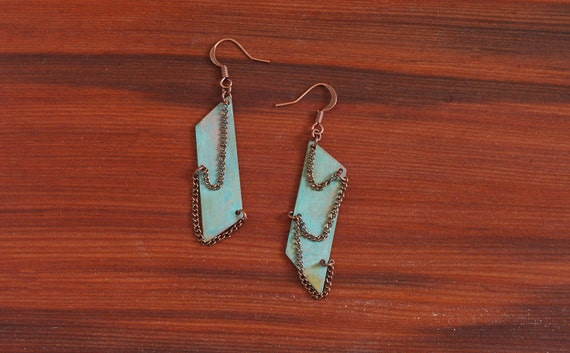 Asymmetric Patina Earrings with Chains